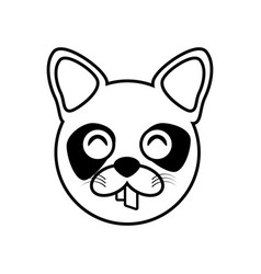 raccoon face animal outline vector image vector image