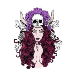 tattoo woman SKULL vector image