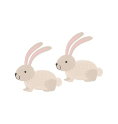 Two White Bunnies Sitting vector image vector image