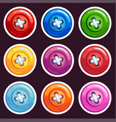 a set of colored cartoon buttons vector image vector image