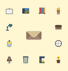 flat icons armchair pen holder identification vector image