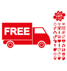 free shipment icon with dating bonus vector image