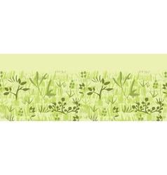 Paint textured green plants horizontal seamless vector image