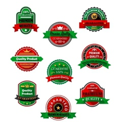 Quality guarantee labels in flat style vector image