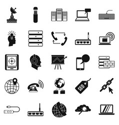 Telecommunication icons set simple style vector