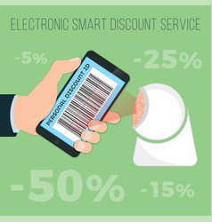 Get discounts by e-discount card in your phone vector