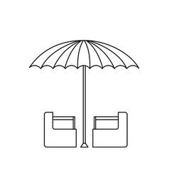 Green and white umbrella circus clown equipment vector