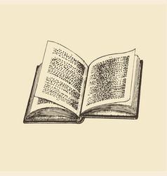 An open book hand drawn vector
