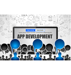 app development concept with business doodle vector image