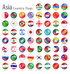 Asian national flag buttons set vector