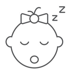 Baby girl sleep thin line icon child and face vector