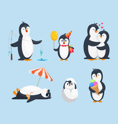 Baby pinguins in different poses vector