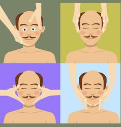 bald man having facial massage in spa top view vector image