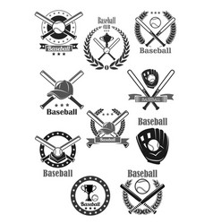 Baseball club awards template icons set vector