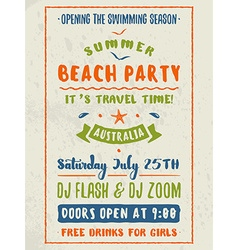 Beach Party Flyer or Poster Night Club Event vector image