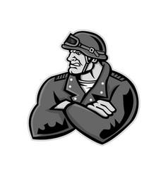 biker arms crossed mascot vector image