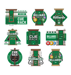 Billiard cue rack icons pool and snooker sport vector
