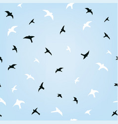 birds in sky flying seamless pattern graphic vector image