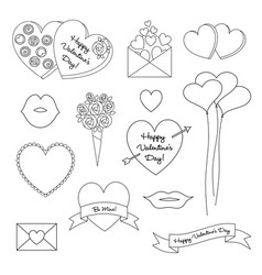 Black outline valentines day clipart vector