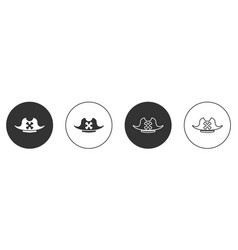 Black pirate hat icon isolated on white background vector