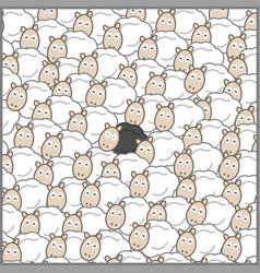 Black sheep in a sheep herd vector