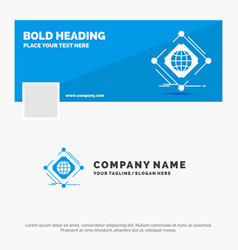 Blue business logo template for complex global vector