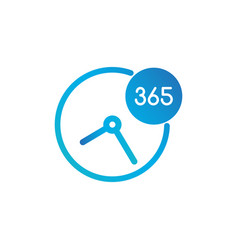 business clock icon 365 days - standard label vector image