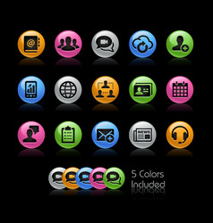 business network technology icons - gelcolor vector image