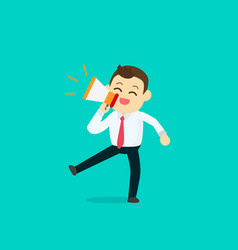businessman happy with megaphone vector image
