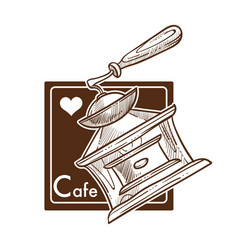 cafe making coffee in turkish cezve monochrome vector image
