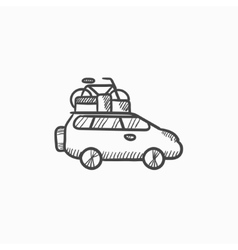 Car with bicycle mounted to the roof sketch icon vector image