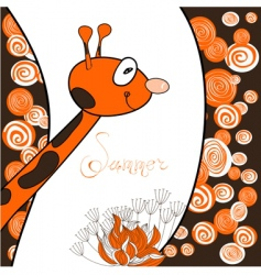 cartoon giraffe card vector image