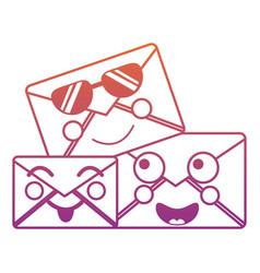 cartoon mail envelope kawaii friendly characters vector image