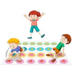 Children playing twister together vector