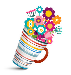 Colorful flowers in cup vector