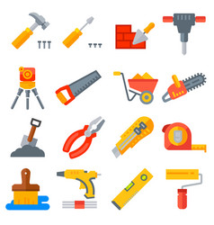 construction tools icons collection vector image