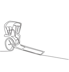 continuous one line drawing pulled rickshaw vector image