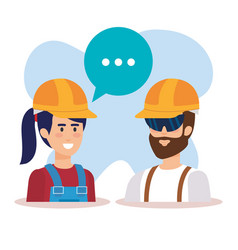 Couple builders talking characters vector