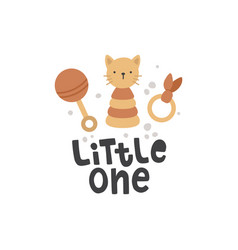 cute boho toys and lettering vector image