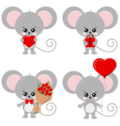 Cute lovely mouse set isolated on white background vector