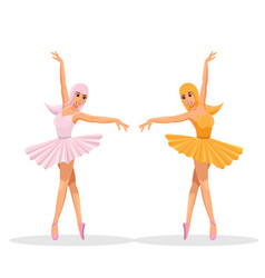 Cute women dance ballet vector