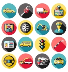 Driving Long Shadow Icons Set vector image