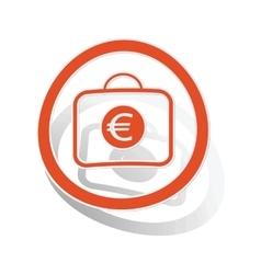 Euro bag sign sticker orange vector