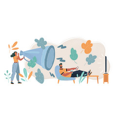 fight with megaphone woman man wath tv vector image