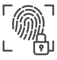 Fingerprint and lock line icon fingerprint vector
