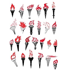 Flaming torches with red flames vector image