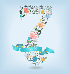 Floral number seven with blue ribbon vector