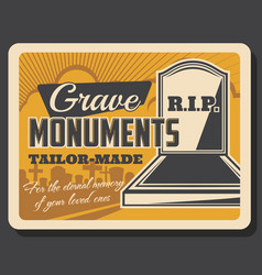 funeral and burial services retro grave monuments vector image