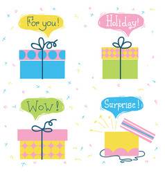 gift boxes set color presents with text vector image