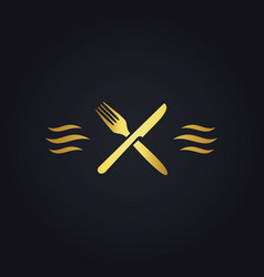 Gold fork knife food logo vector